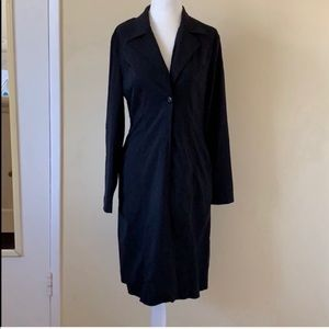 Jackets & Blazers - Long black single buttoned collared jacket